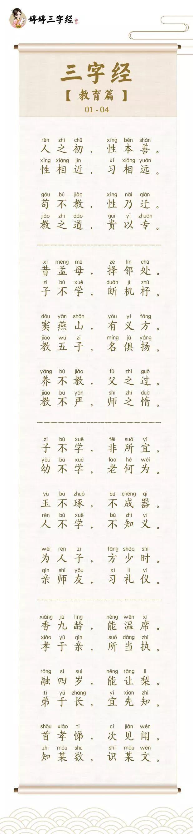 婷婷唱古文三字经|求学问教但由心,三字见性情